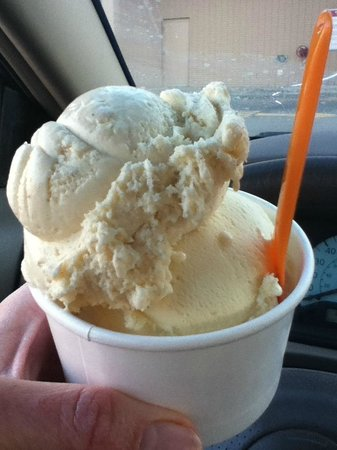 Glace Artisan Ice Cream: Bananas Foster gelato on top of French Lavendar