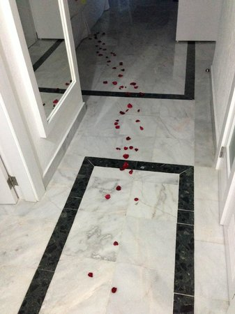 Hotel Riu Caribe: Rose petals in the entrance to the room.