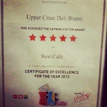 Upper Crust Deli Bistro: Upper Crust receives best cafe award in Cayman 2013.