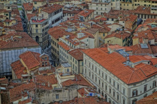 Hotel Laurus al Duomo: View of the hotel, third up from largest building.  Top of Duomo