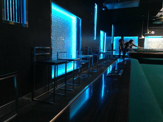 Post Billiards Cafe: New Color Changing Walls With Glass Tiles