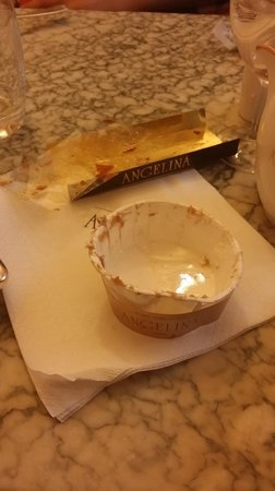 Angelina desserts are served at your table in paper and plastic?!?