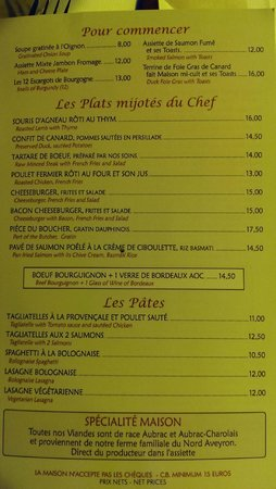 parital menu picture of bistrot de la tour eiffel paris