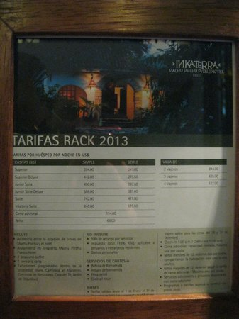 Inkaterra Machu Picchu Pueblo Hotel: Rates Sign (Nov 2013)