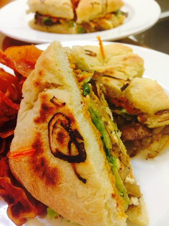 Tre Rosat Cafe : new balsamic roated veggie sandwich on house made focaccia.
