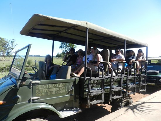 Plettenberg Bay Game Reserve: This is the safari vehicle. One is protected from the sun, and every seat offers a really good v