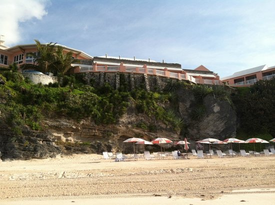 The Reefs: Looking up at hotel from beach