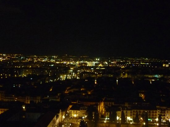 Hotel Alhambra Palace: view from our front room on Granada by night