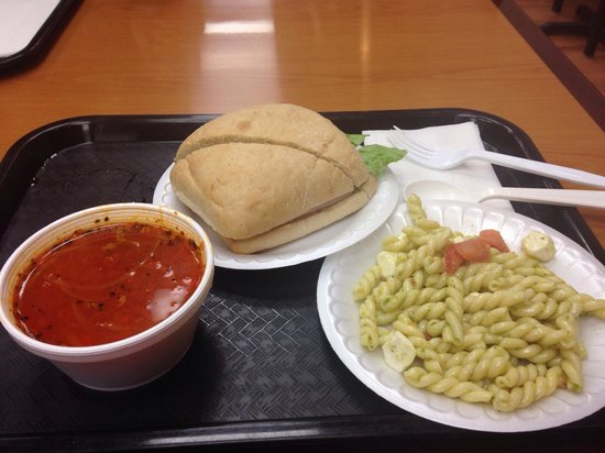 New City Cafe: Red pepper soup, ham sandwich, and a plate of pasta. The pasta alone cost nearly $5. Egads.