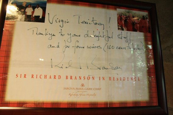 Sarova Mara Game Camp: Richard Branson was here
