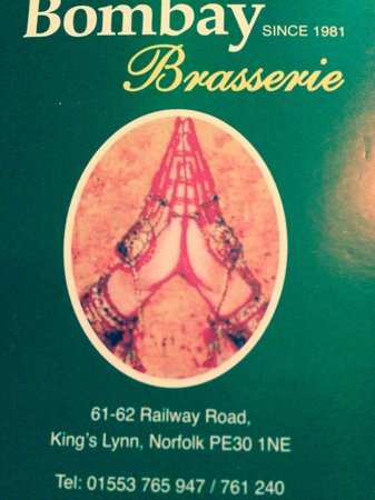 The Bombay Brasserie: Visiting card