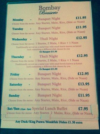 The Bombay Brasserie: Weekly Manu