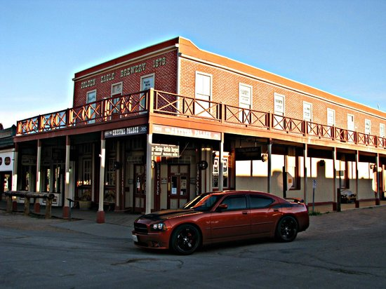 Crystal Palace Saloon and Restaurant : Charger tied up outside the saloon.