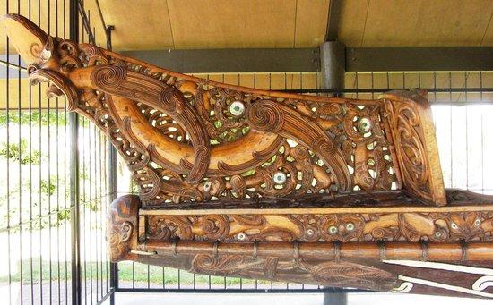 Lake Rotorua: Carved front of War Canoe