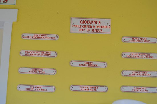 Giovanni's Cafe: Signs