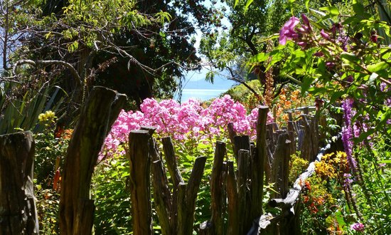 Little Paradise Lodge: Fence, flowers and Lake Wakatipu.