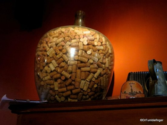 A huge jar of wine corks -- part of the decor of Cumana Restaurant