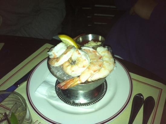 Gaslight Brasserie: large tender poached shrimp cocktail, Gaslight in Boston