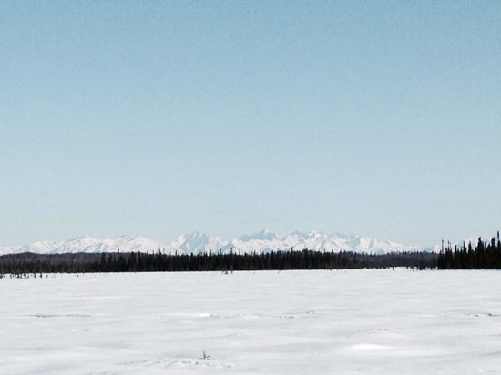 Alaska's Winter Park Cabins: One of the many mountain views from the snowmobile trails