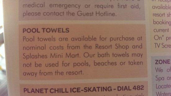 Paradise Resort Gold Coast: BYO Towels?