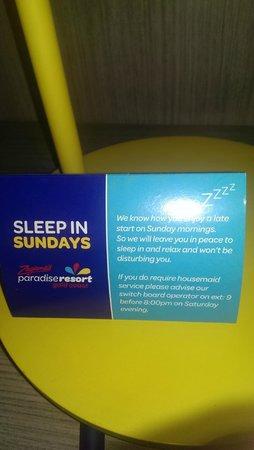 Paradise Resort Gold Coast: Sunday sleep ins??? Not here!