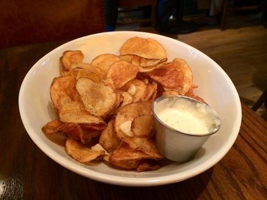 deliciously crisp housemade garlic potato chips at Granary Tavern, Boston