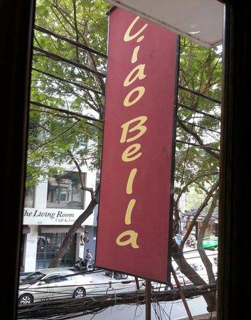 Ciao Bella: Biz sign viewed from 1st floor