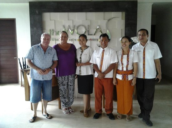 The Wolas Villas & Spa: My wife & I with staff in the lobby