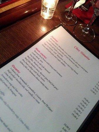 the menu at Chez Toinette