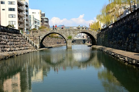 Spectacles Bridge (Meganebashi): 川の中から