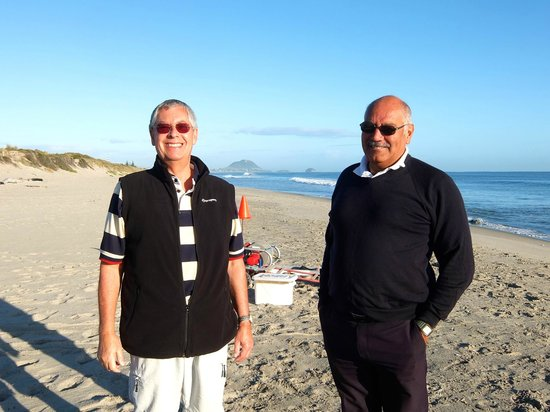 Archer Tours: Jim Archer (right) and my husband on an early morning beach stop.