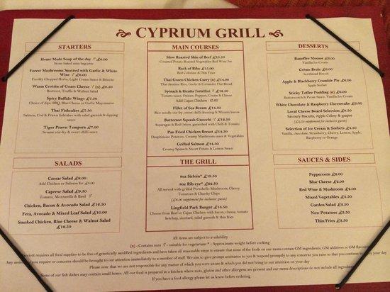 Lingfield Park Marriott Hotel & Country Club : Restaurant menu