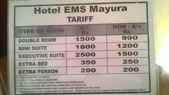 Mettupalayam, India: Room Tariff