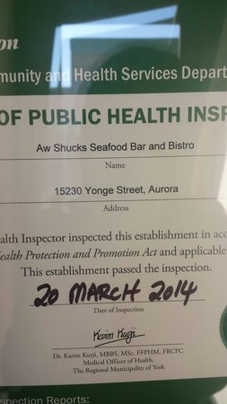 Aw Shucks Seafood Bar & Bistro: Inspection march 20