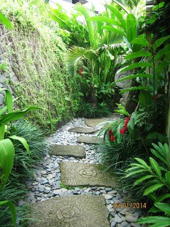 The Damai: walk way to the villa