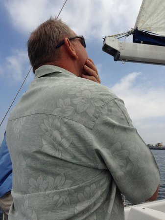 Sail San Diego: Greg let me steer the bait , fun! My first time.  Greg Thank You! Jeanette