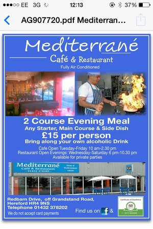 At your servic  Picture of Mediterrane Restaurant, Hereford