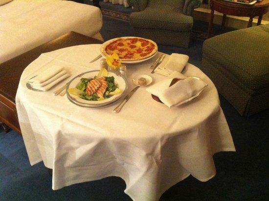 The Dorchester: Caesar salad and pepperoni pizza
