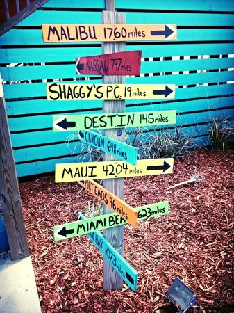 Shaggy's: The mileage sign out front
