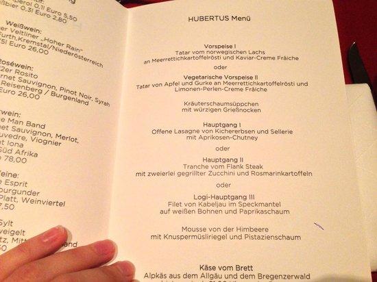 HUBERTUS Alpin Lodge&Spa: Abendmenue