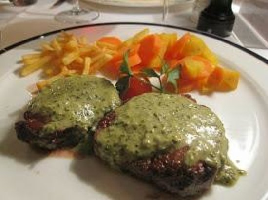 "Le Mirabeau : Mignon beef filet with sauce ""Cafe de Paris"""
