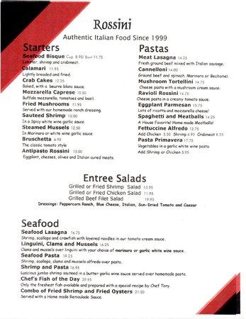 Rossini Cucina Italiana: Revised Menu