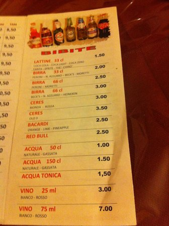 Dima's Pizza: menu