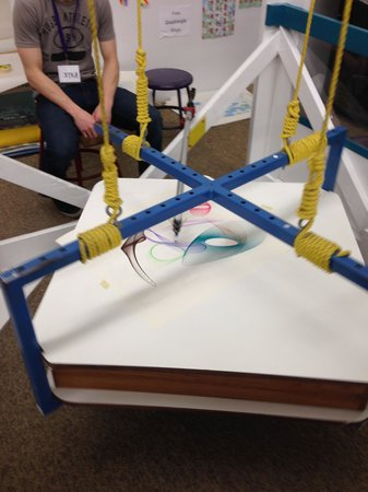 Headwaters Science Center: making art on a large gravity swing table
