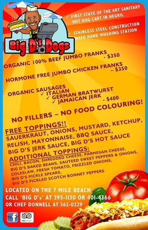 Big D's Dogs: Big D's Menu