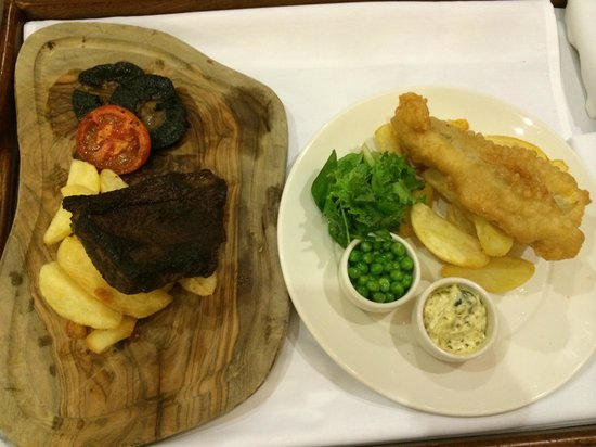 The Green House: Steak and chips with mushrooms and tomato; and fish and chips with peas and tartar sauce