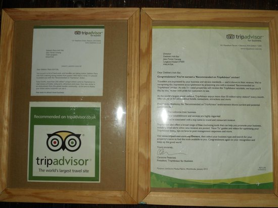 """Debbie's Place Irish Pub: we earned a """"Recommended on TripAdvisor"""" sticker thanks to you guys :)"""