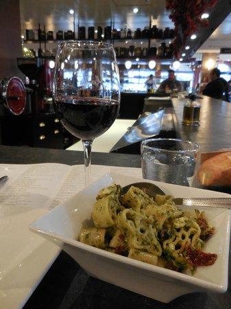 Mercato: Pesto pasta from the deli and mediocre red wine