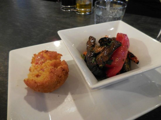 Mercato: Sicilian rice ball and grilled vegetables from the deli