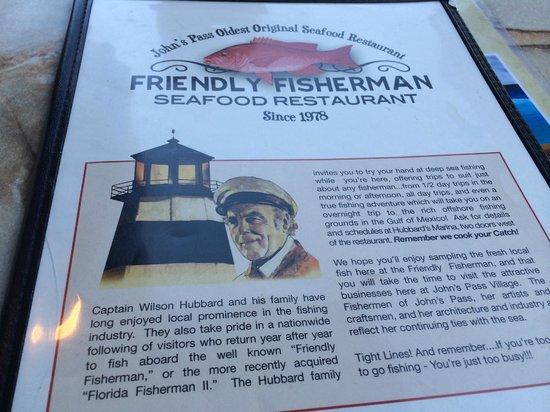 Friendly Fisherman Restaurant : menu